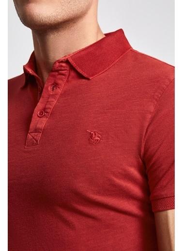 D'S Damat Slim Fit Pike Dokulu T-Shirt Kırmızı
